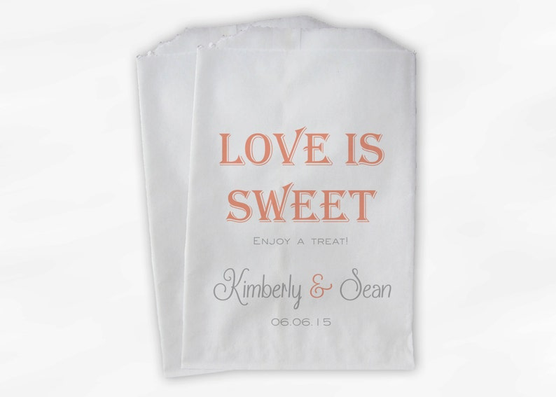 Love Is Sweet Wedding Candy Buffet Treat Bags 0078 Custom Paper Bags Enjoy a Treat Personalized Favor Bags in Light Coral and Gray