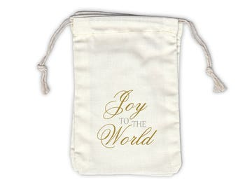 Joy to the World Holiday Cotton Favor Bags in Gold and Silver - Ivory Fabric Drawstring Bags - Set of 12 (1018)