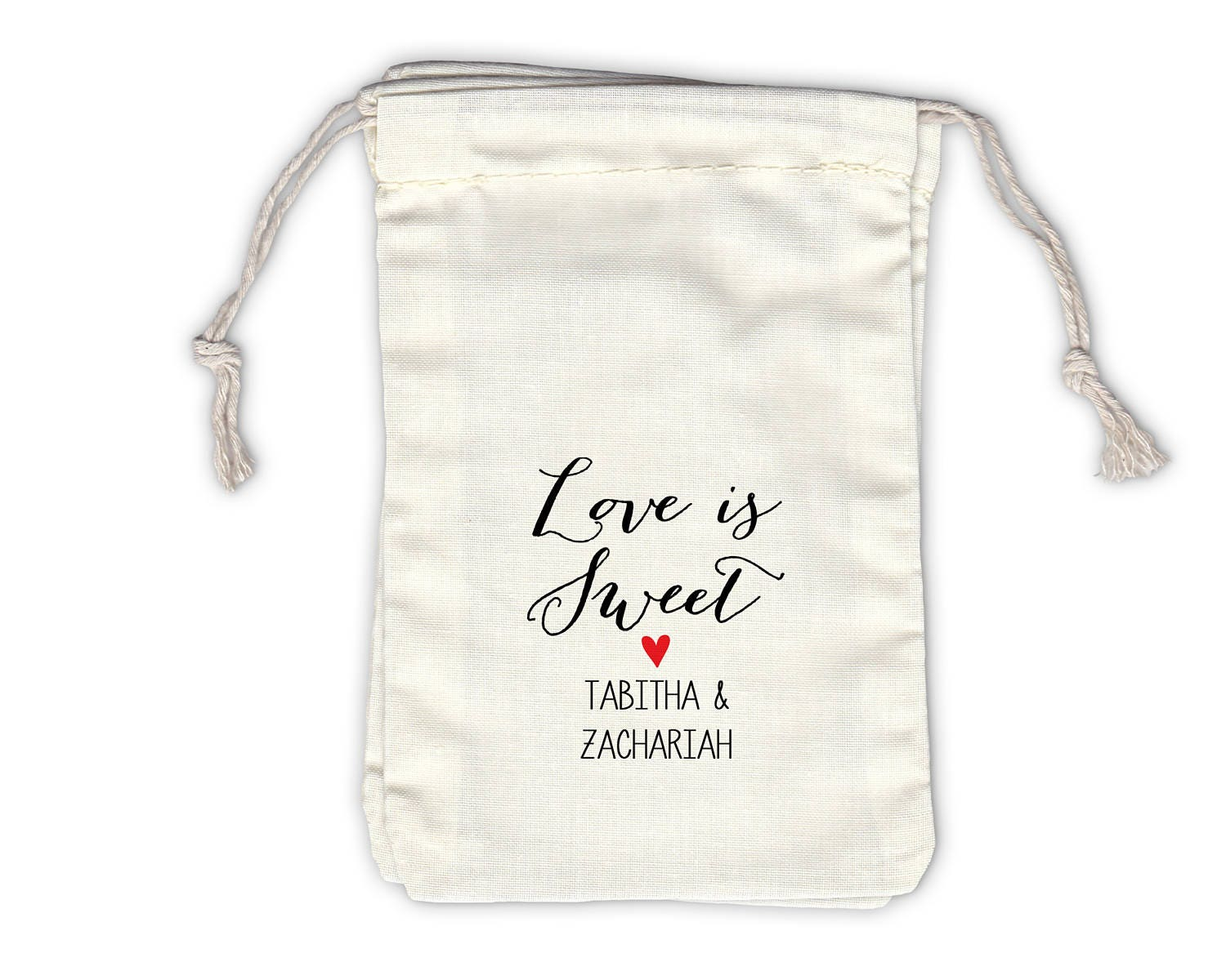 Love Is Sweet Personalized Cotton Bags for Wedding Favors in Black ...