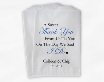 Sweet Thank You Wedding Candy Buffet Treat Bags - Blue and Black Personalized Favor Bags with Couple's Names and Wedding Date (0054-6)