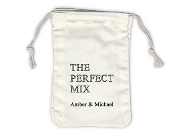 The Perfect Mix Sketch Personalized Cotton Bags for Wedding Favors in Black - Ivory Fabric Drawstring Bags - Set of 12 (1024)