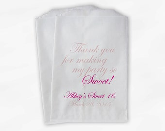Sweet 16 Party Personalized Candy Buffet Paper Treat Bags - Set of 25 Shades of Pink Thank You Favor Bags with Name and Date (0143)