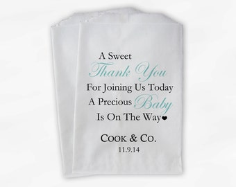 Sweet Thank You Baby Shower Candy Buffet Treat Bags - Light Teal Personalized Favor Bags - Set of 25 Bags (0108)