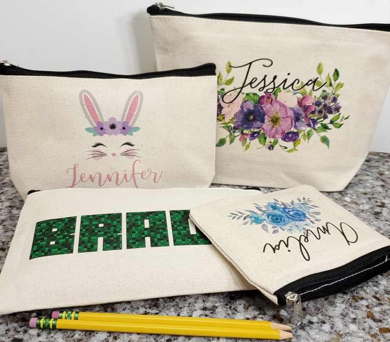 Use as Pencil Bag Rabbit With Flowers Personalized Zipper Pouch in Purple Bunny Zip Case Clutch Makeup Pouch