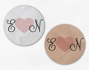 Initials and Heart Wedding Favor Stickers - Pink Ice Custom Candy Buffet White, Kraft Round Labels for Bag Seals, Envelopes (2021)