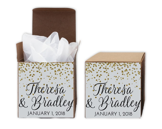 Featured listing image: Glitter Confetti Wedding Favor Boxes - Set of 12 Personalized Treat Containers with Stickers for Party Favors, Gifts - Kraft Tuck Top Boxes