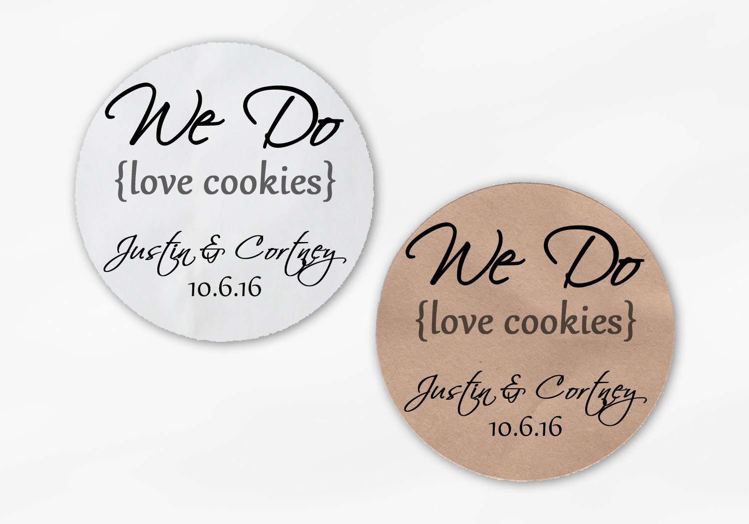 We Do Love Cookies Personalized Wedding Favor Stickers - Dark Gray ...