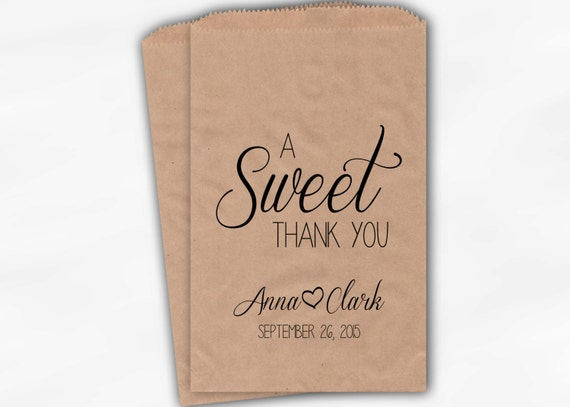 Anniversary Candy Buffet Treat Bags A Sweet Thank You Black and Red Personalized Favor Bags with Couple/'s Names and Date 0085