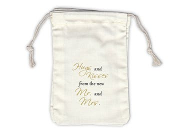 Hugs and Kisses Mr and Mrs Cotton Bags for Wedding Favors in Black and Gold - Ivory Fabric Drawstring Bags - Set of 12 (1028)