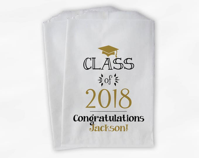 Featured listing image: Class of 2018 Personalized Treat Bags - Set of 25 Black & Gold High School Graduation Party Custom Favor Bags in School Colors (0214)