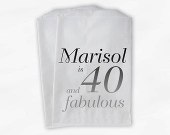 40th Birthday Personalized Candy Buffet Bags - 40 and Fabulous Custom Favor Bags in Gray Ombre - 25 Paper Treat Bags (0079)
