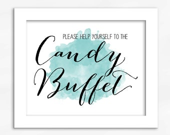 Candy Buffet Print in Light Teal - Watercolor Calligraphy Wedding Reception Sign for Favors or Dessert Table (4001)
