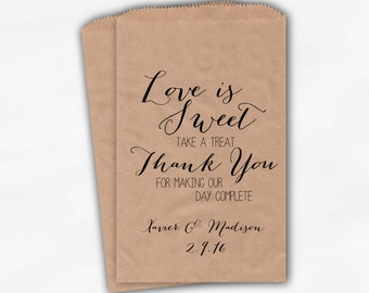 Love Is Sweet Our Day Complete Wedding Candy Buffet Treat Bags - Handwritten Favor Bags in Black - Custom Kraft Paper Bags (0169)
