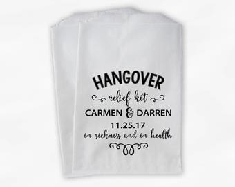 Hangover Relief Kit Personalized Wedding Favor Bags - Candy Buffet Treat Bags in Black - Set of 25 Paper Bags (0201)
