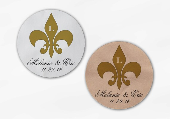 Fleur de Lis Wedding Favor Stickers in Gold Custom Candy | Etsy