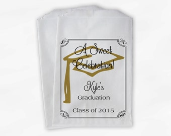 Graduation Favor Bags - 2018 Sweet Celebration Party Custom Favor Bags - Set of 25 Black and Gold Paper Treat Bags (0076)