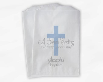 First Communion Favor Bags - Baptism or Religious Party Custom Favor Bags - Set of 25 Baby Blue and Gray Paper Treat Bags (0073)