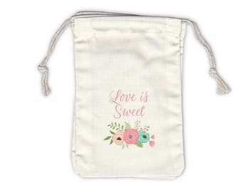 Love Is Sweet Vintage Floral Cotton Bags for Wedding Favors in Antique Pink - Ivory Fabric Drawstring Bags - Set of 12 (1038)