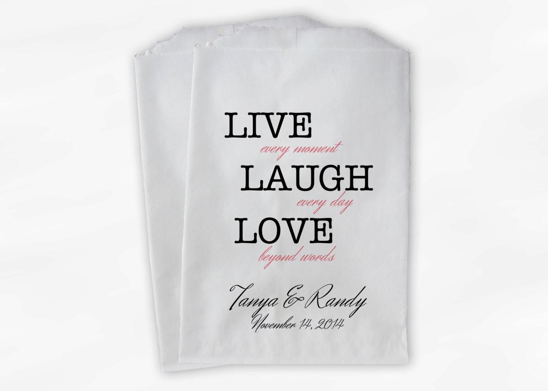 Live Laugh Love Beyond Words Custom Wedding Favor Bags For Etsy