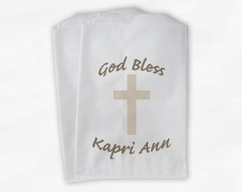Religious Favor Bags - Brown and Cream Baptism, Christening, Communion Custom Favor Bags - 25 Paper Treat Bags (0030)