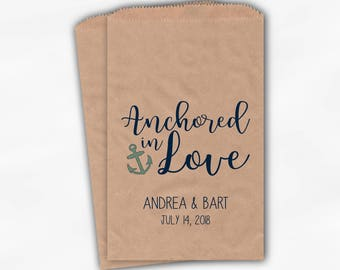 Anchored in Love Candy Buffet Treat Bags - Nautical Wedding Favor Bags with Anchor in Navy & Light Teal - 25 Custom Kraft Paper Bags (0206)
