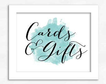 Cards and Gifts Print in Light Teal - Watercolor Calligraphy Wedding Reception Sign for Gift Table (4001)