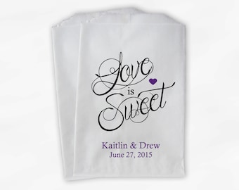 Love Is Sweet Calligraphy Wedding Candy Buffet Treat Bags - Personalized Favor Bags in Purple - Custom Paper Bags (0122)