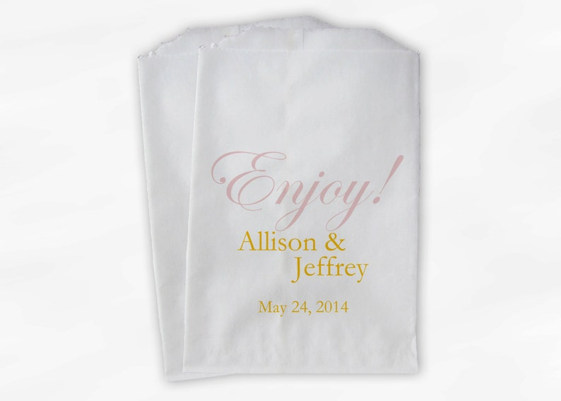 Pink and Gold Personalized Favor Bags with Names and Date Custom Paper Bags Enjoy Wedding Candy Buffet Treat Bags 0026-10