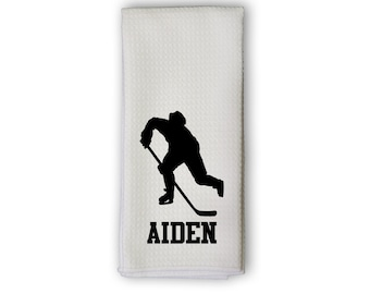 Hockey Towel - Personalized Sports Towel with Hockey Player Silhouette - Microfiber Sweat Towel in Team Colors