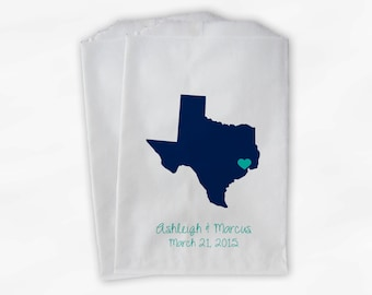 Texas Home State Wedding Candy Buffet Treat Bags - Navy Aqua Personalized Favor Bags with Couple's Names and Date - Custom Paper Bags (0121)