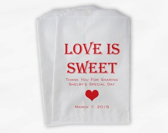 Love Is Sweet Candy Buffet Treat Bags - Personalized Bridal Shower Favor Bags in Red - 25 Custom Paper Bags (0167)