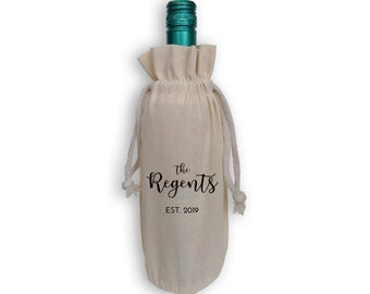 Personalized Cotton Wine Gift Bag with Last Name and Wedding Date - Wedding Gift, Wedding Favors, Reusable Gift Bag