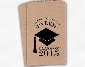 2018 Graduation Cap Personalized Candy Buffet Bags - Set of 25 Black High School Grad Party Custom Kraft Favor Bags in School Colors (0060)