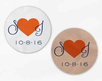 Initials and Heart Wedding Favor Stickers - Orange and Navy Custom Candy Buffet White, Kraft Round Labels for Bag Seals, Envelopes (2021)