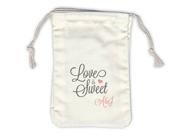 Love Is Sweet Initials Personalized Cotton Bags for Wedding Favors in Gray and Pink - Ivory Fabric Drawstring Bags - Set of 12 (1022)
