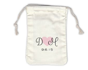 Initials Heart and Date in Script Cotton Bags for Wedding Favors in Black and Pink - Ivory Fabric Drawstring Bags - Set of 12 (1031)