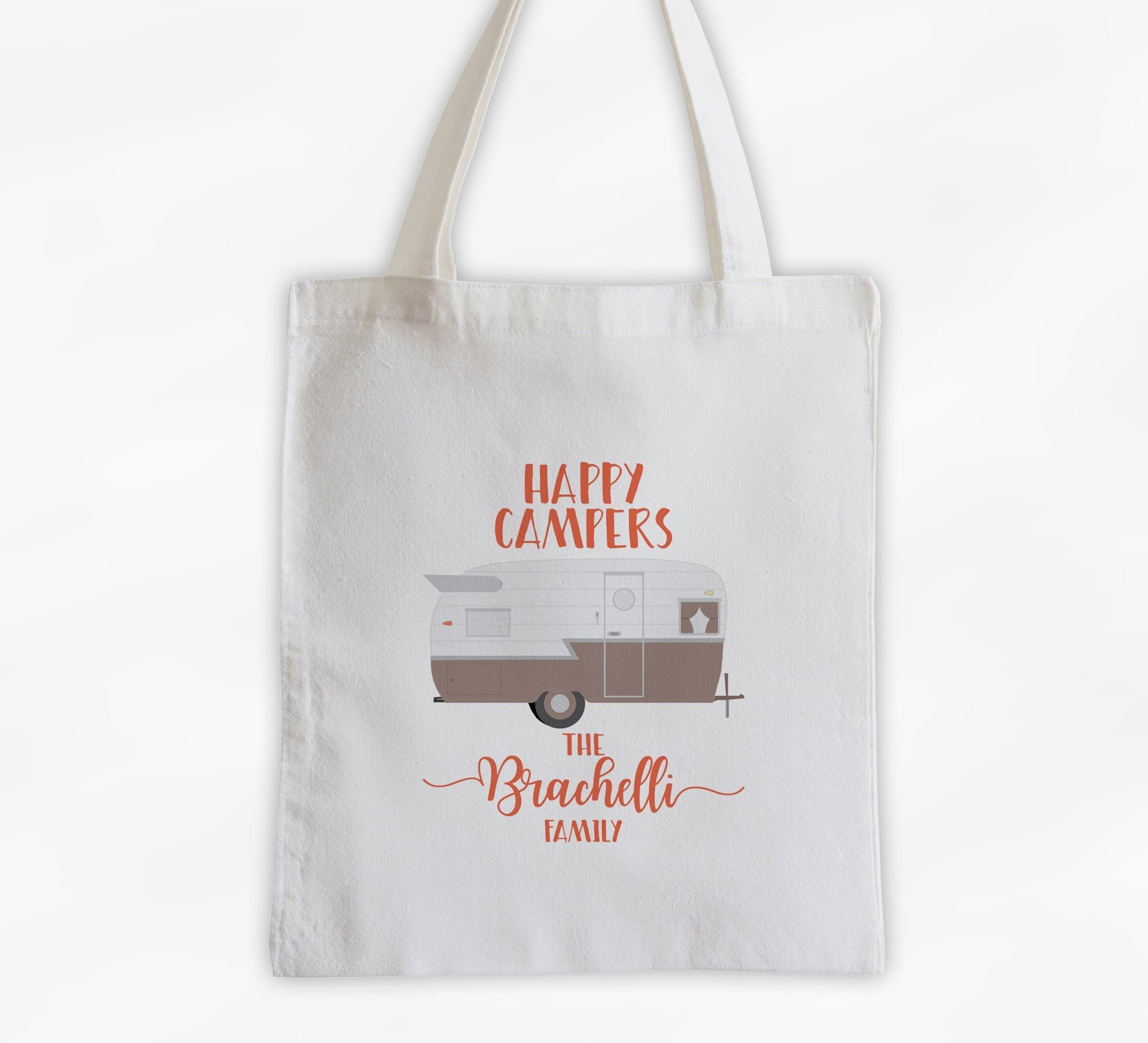4ac6fc14e876 Happy Camper Personalized Canvas Tote Bag in Beige and Coral