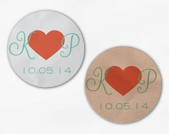 Initials and Heart Wedding Favor Stickers - Coral and Mint Custom Candy Buffet White, Kraft Round Labels for Bag Seals, Envelopes (2021)
