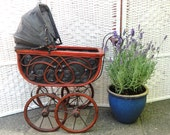 Vintage Doll' s Baby Carriage Pram Pushchair Buggy