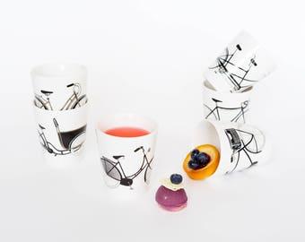 Set Porcelain Bikes Cups