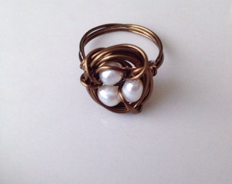Bronze Pearl Nest Ring Wire Wrapped Freshwater Pearl Ring