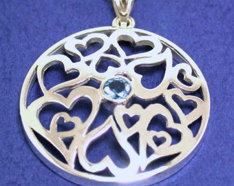 Aquamarine Sterling Silver Necklace With Ornamental Hearts, March Birthstone