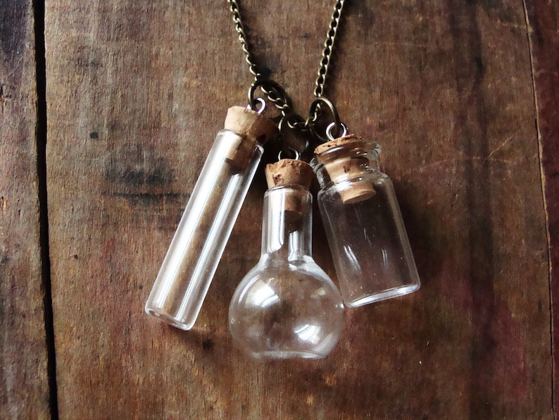 Empty Miniature Jars Necklace Glass Terrarium Necklace Urn Etsy