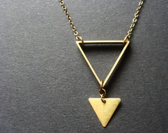 Brass Triangle Necklace Minimalist arrow raw industrial
