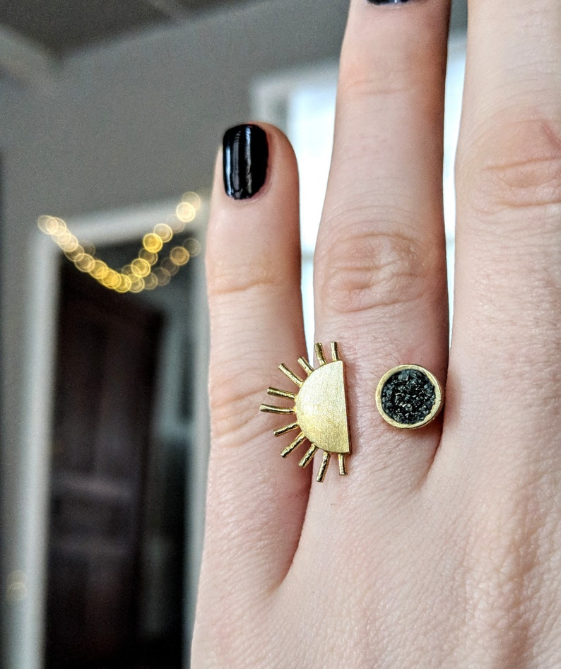 Sun and Moon Adjustable Brass Ring / Celestial jewelry / Moon image 0