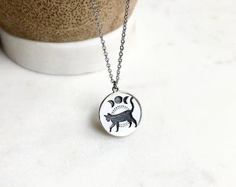 Sterling Silver Cat Moon Necklace / Moon phases / Cat Jewelry / Black Cat / Witchy Aesthetic / Dainty Sterling Silver Necklace / Halloween