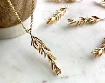 Gold Rosemary Necklace / Herb Necklace / Rosemary Herb / Gold Plated Leaf Necklace / Culinary Gift