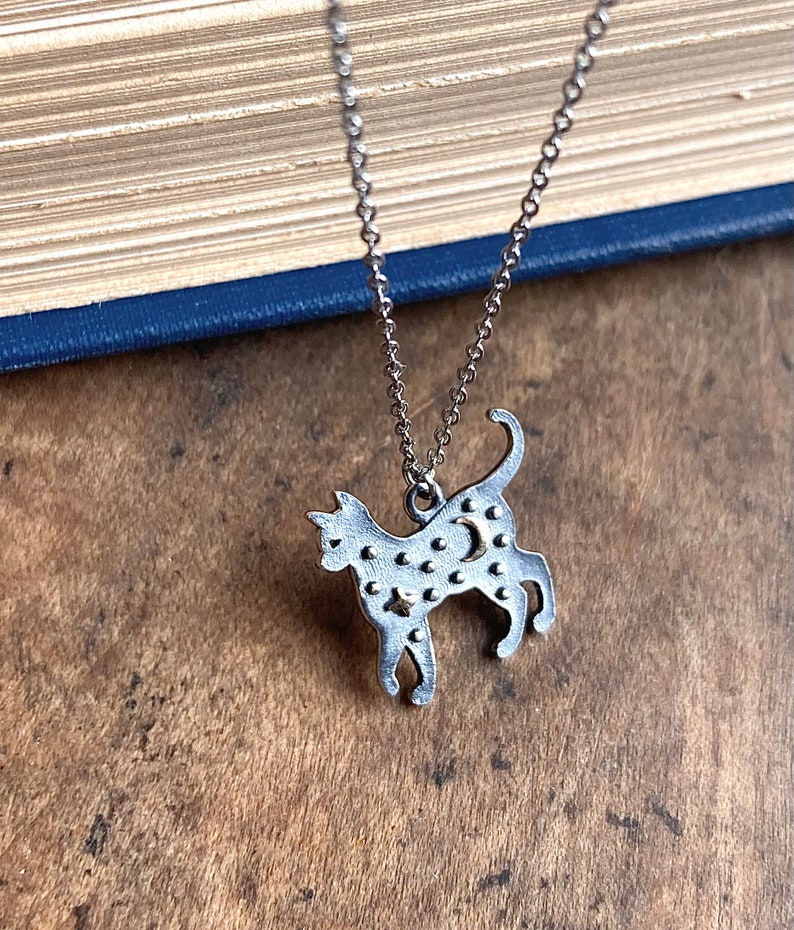 Moon Cat Necklace  Stars and Moon  Sterling Silver  Cat Jewelry  Black Cat  Witchy Aesthetic  Silver Cat Jewelry  Halloween