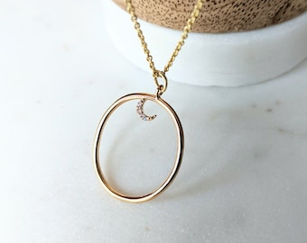 Dainty Gold Moon Necklace