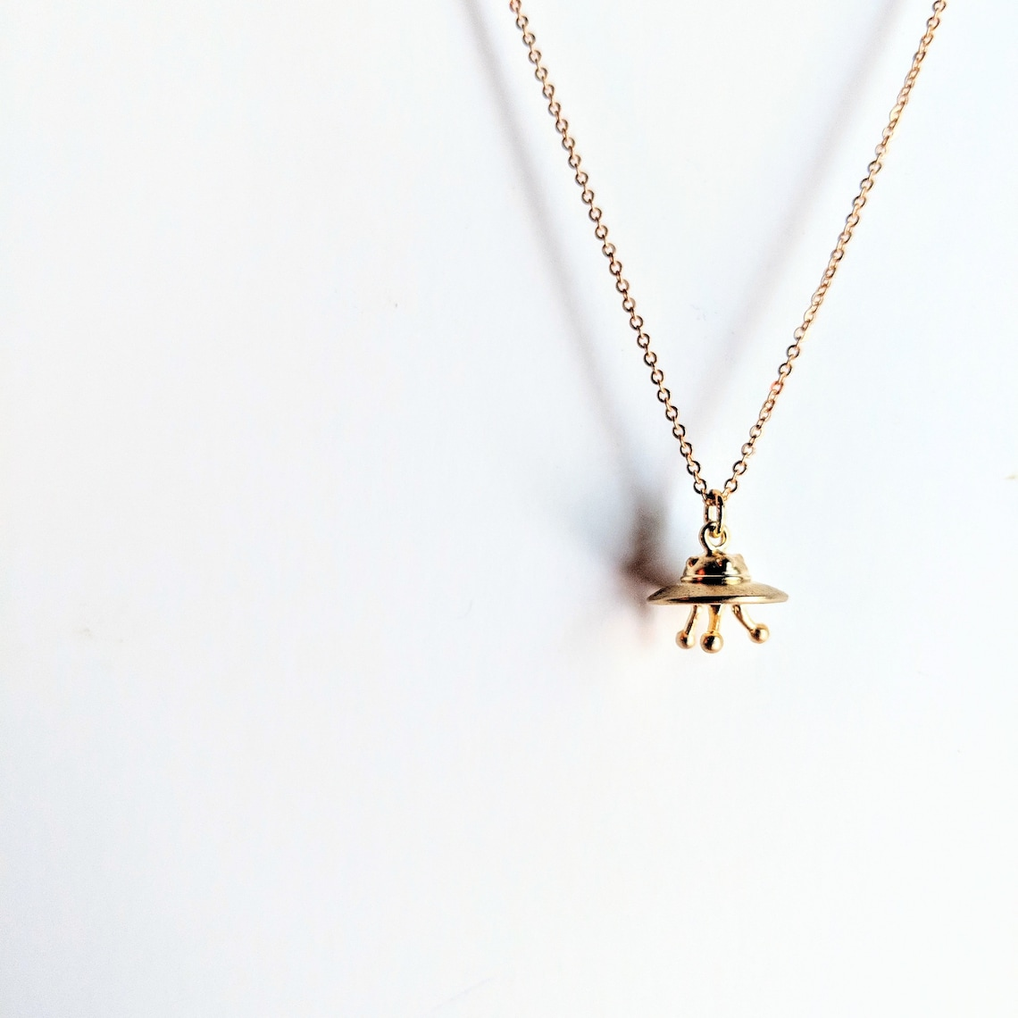 Gold UFO Necklace  Spacecraft Necklace  Spaceship  UFO  image 0